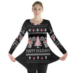 Motorcycle Santa Happy Holidays Ugly Christmas Black Background Long Sleeve Tunic
