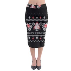 Motorcycle Santa Happy Holidays Ugly Christmas Black Background Midi Pencil Skirt