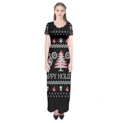 Motorcycle Santa Happy Holidays Ugly Christmas Black Background Short Sleeve Maxi Dress