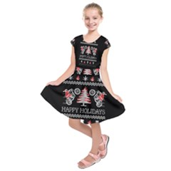 Motorcycle Santa Happy Holidays Ugly Christmas Black Background Kids  Short Sleeve Dress