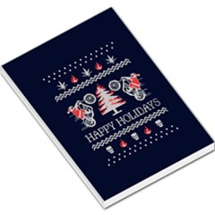 Motorcycle Santa Happy Holidays Ugly Christmas Blue Background Large Memo Pads