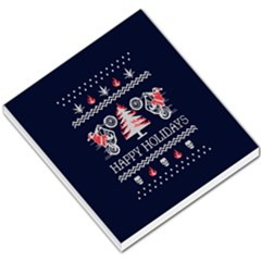 Motorcycle Santa Happy Holidays Ugly Christmas Blue Background Small Memo Pads