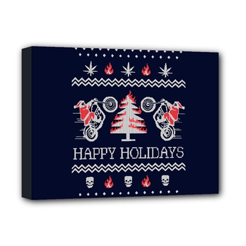 Motorcycle Santa Happy Holidays Ugly Christmas Blue Background Deluxe Canvas 16  x 12