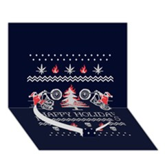 Motorcycle Santa Happy Holidays Ugly Christmas Blue Background Heart Bottom 3D Greeting Card (7x5)