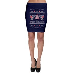 Motorcycle Santa Happy Holidays Ugly Christmas Blue Background Bodycon Skirt