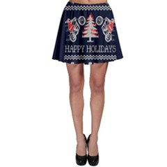 Motorcycle Santa Happy Holidays Ugly Christmas Blue Background Skater Skirt
