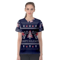 Motorcycle Santa Happy Holidays Ugly Christmas Blue Background Women s Sport Mesh Tee
