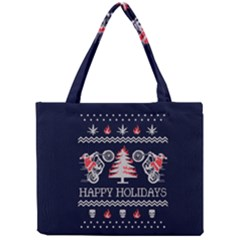Motorcycle Santa Happy Holidays Ugly Christmas Blue Background Mini Tote Bag