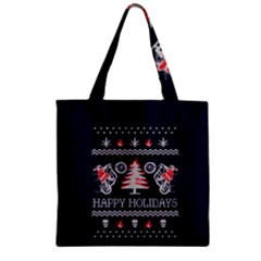 Motorcycle Santa Happy Holidays Ugly Christmas Blue Background Zipper Grocery Tote Bag