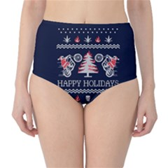 Motorcycle Santa Happy Holidays Ugly Christmas Blue Background High Waist Bikini Bottoms