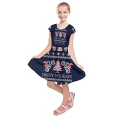 Motorcycle Santa Happy Holidays Ugly Christmas Blue Background Kids  Short Sleeve Dress