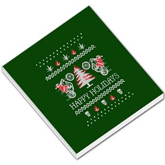 Motorcycle Santa Happy Holidays Ugly Christmas Green Background Small Memo Pads