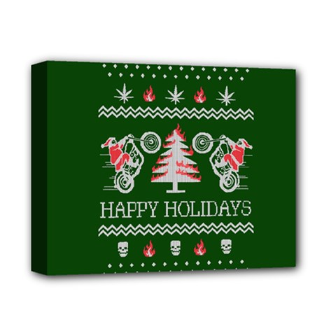 Motorcycle Santa Happy Holidays Ugly Christmas Green Background Deluxe Canvas 14  x 11