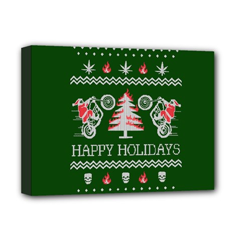 Motorcycle Santa Happy Holidays Ugly Christmas Green Background Deluxe Canvas 16  x 12