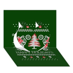 Motorcycle Santa Happy Holidays Ugly Christmas Green Background Heart 3d Greeting Card (7x5)