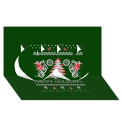 Motorcycle Santa Happy Holidays Ugly Christmas Green Background Twin Hearts 3d Greeting Card (8x4)
