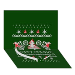 Motorcycle Santa Happy Holidays Ugly Christmas Green Background Heart Bottom 3D Greeting Card (7x5)