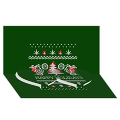Motorcycle Santa Happy Holidays Ugly Christmas Green Background Twin Heart Bottom 3d Greeting Card (8x4)