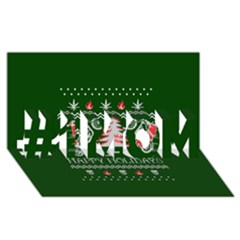 Motorcycle Santa Happy Holidays Ugly Christmas Green Background #1 Mom 3d Greeting Cards (8x4)