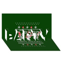 Motorcycle Santa Happy Holidays Ugly Christmas Green Background Party 3d Greeting Card (8x4)