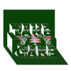Motorcycle Santa Happy Holidays Ugly Christmas Green Background TAKE CARE 3D Greeting Card (7x5)