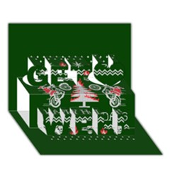 Motorcycle Santa Happy Holidays Ugly Christmas Green Background Get Well 3D Greeting Card (7x5)