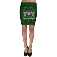 Motorcycle Santa Happy Holidays Ugly Christmas Green Background Bodycon Skirt