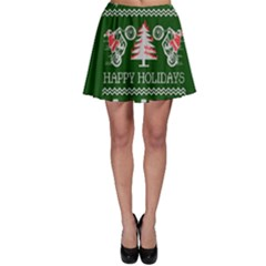 Motorcycle Santa Happy Holidays Ugly Christmas Green Background Skater Skirt