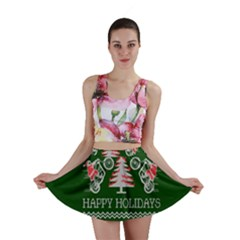 Motorcycle Santa Happy Holidays Ugly Christmas Green Background Mini Skirt