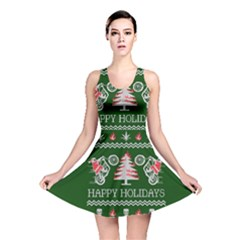 Motorcycle Santa Happy Holidays Ugly Christmas Green Background Reversible Skater Dress