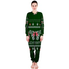Motorcycle Santa Happy Holidays Ugly Christmas Green Background OnePiece Jumpsuit (Ladies)