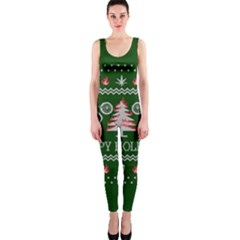 Motorcycle Santa Happy Holidays Ugly Christmas Green Background OnePiece Catsuit