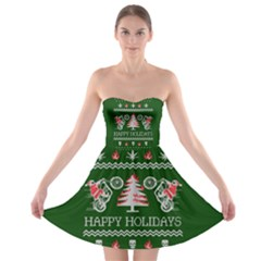 Motorcycle Santa Happy Holidays Ugly Christmas Green Background Strapless Bra Top Dress