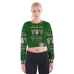 Motorcycle Santa Happy Holidays Ugly Christmas Green Background Women s Cropped Sweatshirt