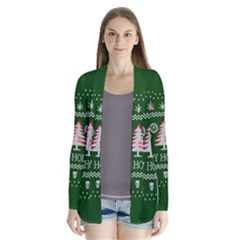 Motorcycle Santa Happy Holidays Ugly Christmas Green Background Drape Collar Cardigan
