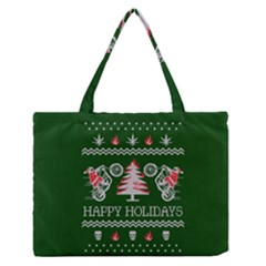 Motorcycle Santa Happy Holidays Ugly Christmas Green Background Medium Zipper Tote Bag