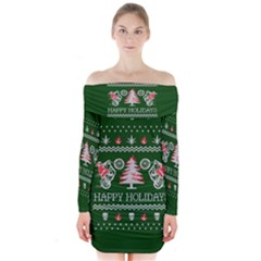 Motorcycle Santa Happy Holidays Ugly Christmas Green Background Long Sleeve Off Shoulder Dress