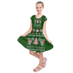 Motorcycle Santa Happy Holidays Ugly Christmas Green Background Kids  Short Sleeve Dress