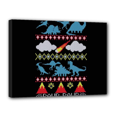 My Grandma Likes Dinosaurs Ugly Holiday Christmas Black Background Canvas 16  X 12
