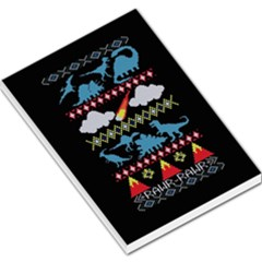 My Grandma Likes Dinosaurs Ugly Holiday Christmas Black Background Large Memo Pads