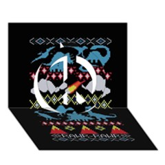 My Grandma Likes Dinosaurs Ugly Holiday Christmas Black Background Peace Sign 3d Greeting Card (7x5)