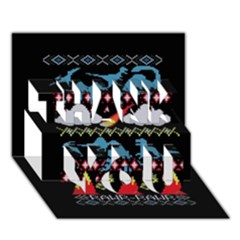 My Grandma Likes Dinosaurs Ugly Holiday Christmas Black Background Thank You 3d Greeting Card (7x5)