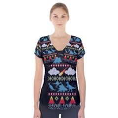 My Grandma Likes Dinosaurs Ugly Holiday Christmas Black Background Short Sleeve Front Detail Top
