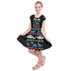 My Grandma Likes Dinosaurs Ugly Holiday Christmas Black Background Kids  Short Sleeve Dress