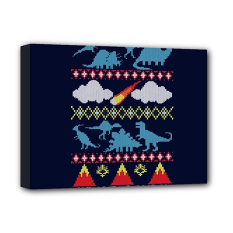 My Grandma Likes Dinosaurs Ugly Holiday Christmas Blue Background Deluxe Canvas 16  x 12