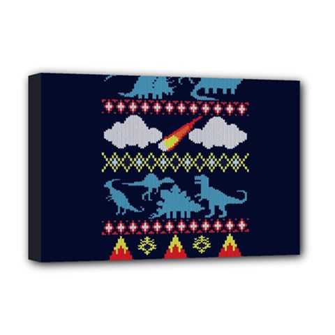 My Grandma Likes Dinosaurs Ugly Holiday Christmas Blue Background Deluxe Canvas 18  x 12