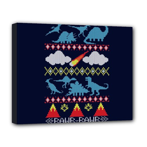 My Grandma Likes Dinosaurs Ugly Holiday Christmas Blue Background Deluxe Canvas 20  x 16