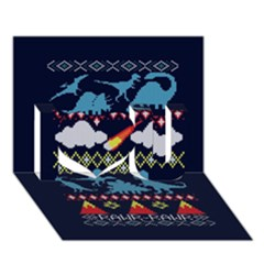 My Grandma Likes Dinosaurs Ugly Holiday Christmas Blue Background I Love You 3d Greeting Card (7x5)