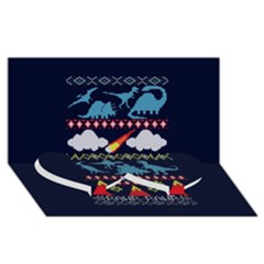 My Grandma Likes Dinosaurs Ugly Holiday Christmas Blue Background Twin Heart Bottom 3d Greeting Card (8x4)