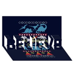 My Grandma Likes Dinosaurs Ugly Holiday Christmas Blue Background BELIEVE 3D Greeting Card (8x4)